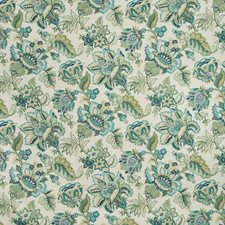 Green/Teal/White Botanical Decorator Fabric by Kravet