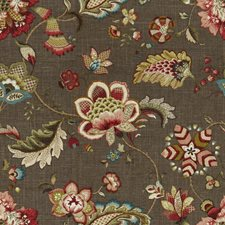 Brown/Burgundy/Red Jacobeans Decorator Fabric by Kravet