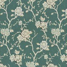 China Blue Botanical Decorator Fabric by Kravet