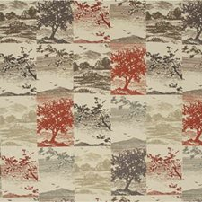 Red/Charcoal Contemporary Decorator Fabric by Mulberry Home