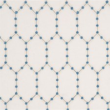 Blue Embroidery Decorator Fabric by Baker Lifestyle