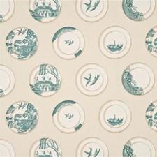 Aqua Print Decorator Fabric by Baker Lifestyle