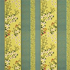 Turquoise/Citrus Embroidery Decorator Fabric by Baker Lifestyle
