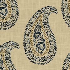 Indigo/Taupe Paisley Decorator Fabric by Baker Lifestyle