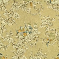 Flax Chinoiserie Decorator Fabric by Lee Jofa