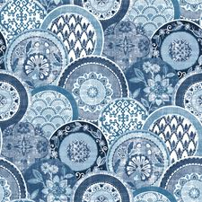 Blue Medallion Wallcovering by Brewster