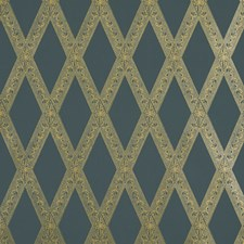 Gold On Black Wallcovering by Schumacher Wallpaper