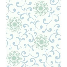 White/Blue/Pearl Green Wall Décor Wallcovering by York