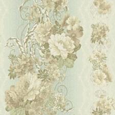 Aqua Satin/Cream/Beige Floral Wallcovering by York