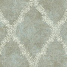 Pearl Tan and Blue/Cream Trellis Wallcovering by York