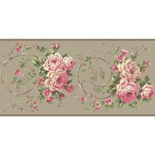 Cloud Grey/Bright Pink/Raspberry Floral Wallcovering by York