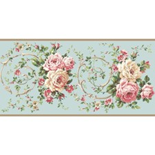 Aqua/Peach/Coral Floral Wallcovering by York