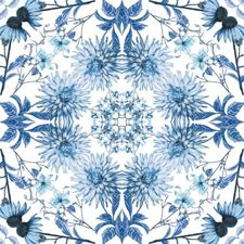 White/Blue Botanical Wallcovering by York