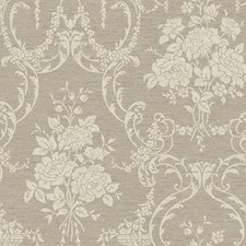 Taupe/Steel Gray/Gold Speckled White Damask Wallcovering by York