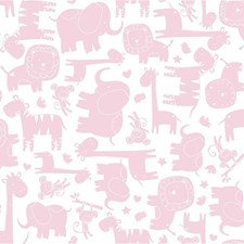White/Pink Animals Wallcovering by York