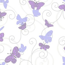 White/Purple/Lavender Animals Wallcovering by York