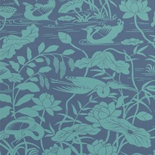 Teal/Blue Animal Wallcovering by G P & J Baker