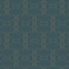 Dark Blue/Metallic Gold Glitter Geometrics Wallcovering by York