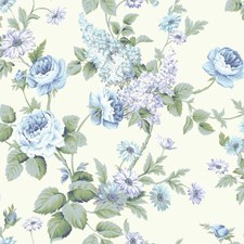 White/Aqua/Dark and Light Blue Floral Wallcovering by York