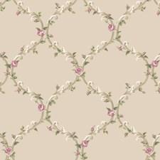 Beige/Cream/Ecru Floral Wallcovering by York