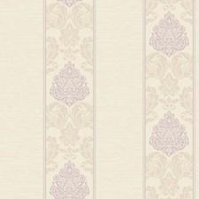 Pearlescent Cream/Ecru/Light Purple Damask Wallcovering by York
