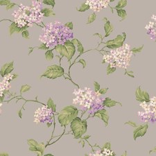 Shiny Silver/Light to Medium Purple/Beige Floral Medium Wallcovering by York