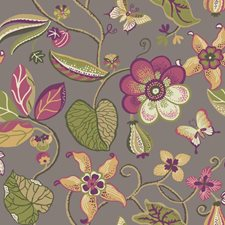 Platinum/Sprout Green/Mustard Floral Medium Wallcovering by York