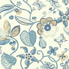 White/Aqua/Medium Blue Floral Wallcovering by York