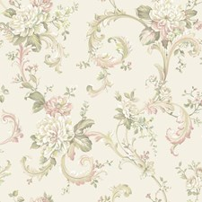 Cream/White/Pink Floral Wallcovering by York