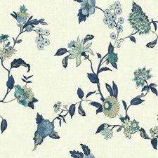 Cream/Dark Blue/Medium Blue Floral Wallcovering by York