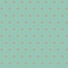 Bright Aqua/Medium Grey/White Geometrics Wallcovering by York