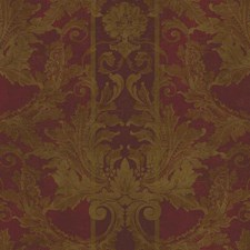 Dark Red/Metallic Gold/Dark Bronze Damask Wallcovering by York