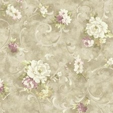 Silver/Light to Dark Purple/Light and Medium Yellow Floral Wallcovering by York