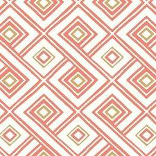 White/Coral/Golden Tan Geometrics Wallcovering by York