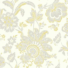 White/Yellow/Light Taupe Bohemian Wallcovering by York