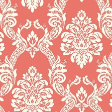 Coral/White Damask Wallcovering by York