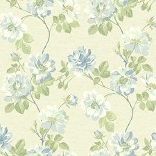 Beige/Light to Dark Blues/White Floral Medium Wallcovering by York