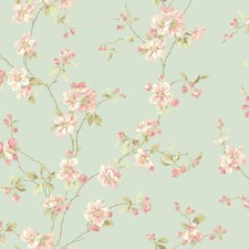 Light Blue/Light to Medium Peach/White Floral Medium Wallcovering by York