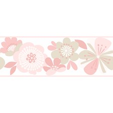 Pale Blush/Dusty Rose/Pale Taupe Floral Medium Wallcovering by York