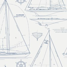 Navy Line On White Wallcovering by Ralph Lauren Wallpaper