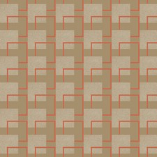 Bronze Pearl Metallic/Off White/Tangerine Orange Raised Prints Wallcovering by York