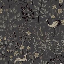Dark Grey/Beige/Black Asian Wallcovering by York