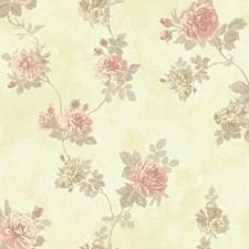 Butter Crème/Dusty Rose/Medium Grey Floral Medium Wallcovering by York
