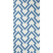 Blue Geometric Wallcovering by Brunschwig & Fils