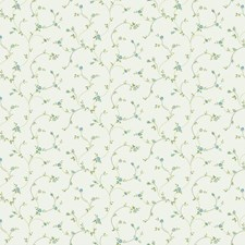 Warm White/Forget-me-not Blue/Olive Green Floral Mini Wallcovering by York