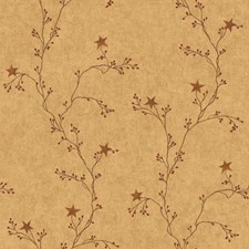 Gold/Red/Brown Vine Wallcovering by York
