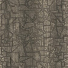 Taupe/Black/Metallic Silver Geometrics Wallcovering by York