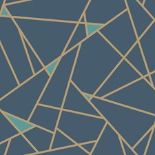 Navy Blue/Metallic Gold Geometrics Wallcovering by York