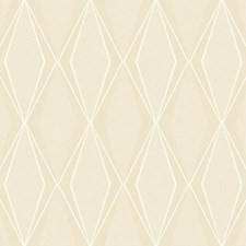 Beige/White/Silver Geometrics Wallcovering by York