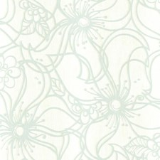 Cream/Metallic Silver/Aqua Floral Wallcovering by York